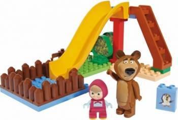 Set constructie cuburi Unico Masha si Ursul Piscina cu tobogan 29 piese Jucarii de Plus