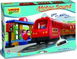Set constructie Unico Plus Trenulet cu baterii 68 piese Jucarii de Plus