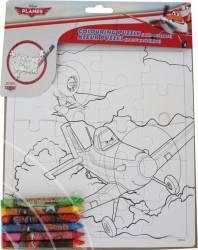 Set Creativ Cu Puzzle Si Creioane Colorate Wo Personaje Multiple- Avioane