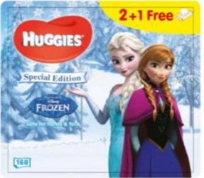 Set de 3 x Servetele umede Huggies BW Natural Care Disney Frozen 56 buc