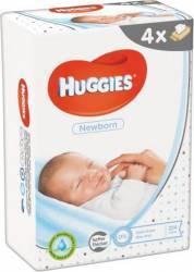 Set de 4 x Servetele umede Huggies Newborn, 56 buc Scutece si servetele