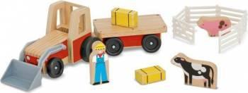 Set de joaca Excavator din lemn cu remorca Machete