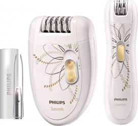 Pachet Promo Epilator Philips Satinelle HP654000 Discuri metalice 20 Puncte de prindere 2 Accesorii 2 Viteze Alb Epilatoare