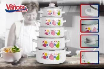 SET GATIT 10 PIESE EMAILAT FABIANA Vase pentru gatit