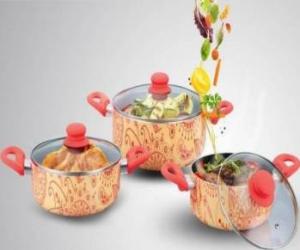 Set gatit Heinner aluminiu 6 piese Picasso Orange Vase pentru gatit