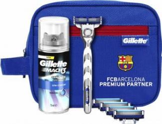 Set Gillette Mach 3 Turbo Barcelona Aparat de ras Mach3 Turbo+4 rezerve+Gel de ras Mach3 Extra Comfort 75ml+Geanta Aparate de ras clasice