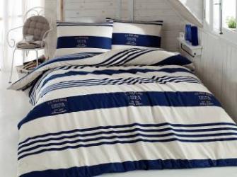 Set lenjerie de pat 3 piese US Polo Holmes Alb-Albastru Lenjerii de pat