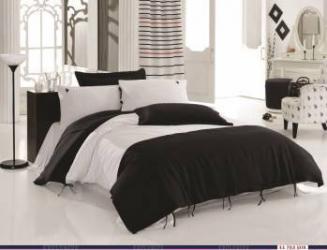 Set lenjerie de pat de in 3 Piese US Polo Kansas Alb-Negru Lenjerii de pat