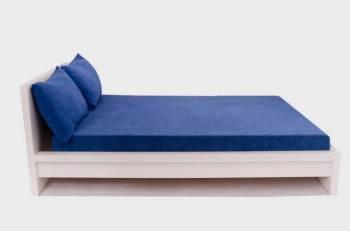 Set Home Still Husa Pat Frotir + 2 Fete de Perna Albastru Cearceafuri si fete perna