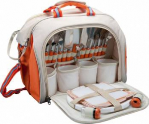 Set picnic Deluxe ZELTEN 4 persoane Alb-Portocaliu Camping si drumetii