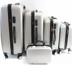 Set 5 Valize tip Troler pentru Voiaj cu Roti Fermoar cu Blocare prin Cifru Carcasa Rezistenta Culoare Argintiu Trolere
