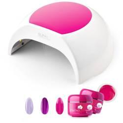 Set Manichiura Lampa Unghii Led Unghii 48w Sunone Profesionala Pink