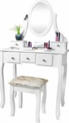 Set Masa Toaleta Pentru Machiaj Cu Oglinda Ovala Si Sertare Scaun
