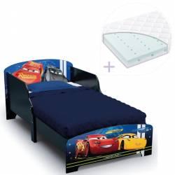 Set pat cu cadru din lemn Disney Cars Team si saltea pentru patut Dreamily - 140 x 70 x 10 cm Patut bebe,tarcuri si saltele