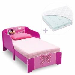 Set pat cu cadru din lemn Disney Minnie Bowtique si saltea pentru patut Dreamily - 140 x 70 x 10 cm Patut bebe,tarcuri si saltele