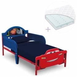Set pat cu cadru metalic Cars Team 3D si saltea pentru patut Dreamily - 140 x 70 x 10 cm Patut bebe,tarcuri si saltele