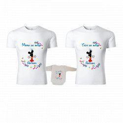 Set Personalizat Familie 2 Tricouri Si Body 1st Year Alb Cu Albastru Stelute Colorate