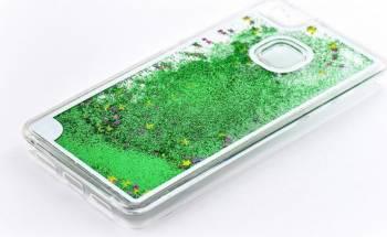 Skin Tellur Huawei P9 Lite cu lichid si sclipici Verde Huse Telefoane