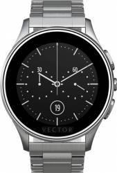 Smart Watch Vector Luna 44mm Argintiu Curea Metalica Argintie