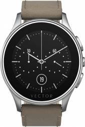 Smart Watch Vector Luna 44mm Argintiu Curea Piele Bej Slim