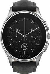 Smart Watch Vector Luna 44mm Argintiu Curea Piele Neagra Slim
