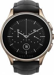 Smart Watch Vector Luna 44mm Aur Roz Curea Piele Croco Neagra Slim