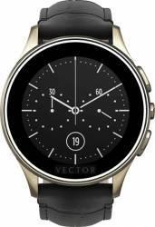 Smart Watch Vector Luna 44mm Aur Sampanie Curea Piele Croco Neagra Slim