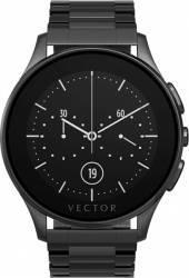 Smart Watch Vector Luna 44mm Negru Satinat Curea Metalica Neagra