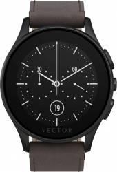 Smart Watch Vector Luna 44mm Negru Satinat Curea Piele Maro Slim