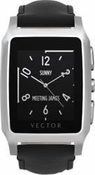 Smart Watch Vector Meridian Argintiu Curea Piele Neagra Slim