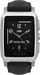 Smart Watch Vector Meridian Argintiu Curea Piele Neagra