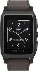 Smart Watch Vector Meridian Negru Satinat Curea Piele Maro