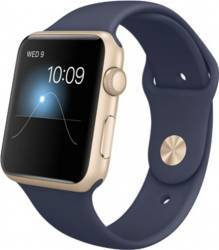Apple Watch 42mm Carcasa Aluminiu Auriu si Curea Sport Albastra MLC72