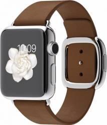Apple Watch 38mm Carcasa Otel Argintie si Curea Moderna Maro L - MJ3D2 Smartwatch