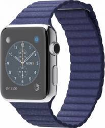 Apple Watch 42mm Carcasa Otel Argintie si Curea Piele Albastra L - MLFD2