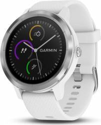 Smartwatch Garmin Vivoactive 3 GPS Argintiu Curea silicon alba Smartwatch
