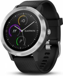 Smartwatch Garmin Vivoactive 3 GPS Argintiu Curea silicon Neagra Smartwatch
