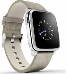 Smartwatch Pebble Time Steel Argintiu Curea Piele Smartwatch