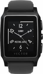 Smartwatch Vector Meridian Otel Inoxidabil Negru Mat Curea Neagra Silicon
