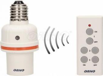 Soclu bec cu telecomanda ORNO OR-GB-431 E27 Alb Becuri inteligente