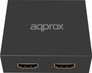 Spliter HDMI Approx 2 porturi 1080P w-4K Upscaling Black