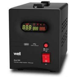 Stabilizator de tensiune cu transformator 900W Negru Well Stabilizatoare de tensiune