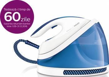 Statie de calcat Philips PerfectCare Viva GC7015/20, Talpa SteamGlide, 2400 W, 1.7 l, 170 g/min, 1.6 m/1.8m, Alb/Albastr