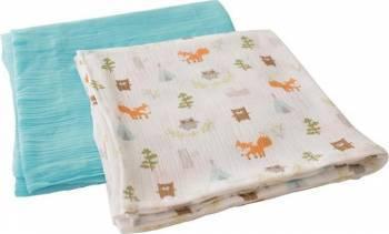 Summer Infant -56186 Set 2 paturici de muselina verdeimprimeu animalute Lenjerii si accesorii patut