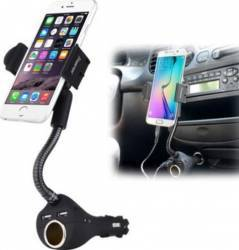 Suport Auto STAR 360 Cu Incarcator Universal 1.5A 3.5-5.3 inch Negru HC-45
