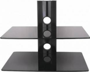 Suport DVD ART D-50N tip Raft dublu  max. 10kg per raft Negru Accesorii diverse pentru TV-uri
