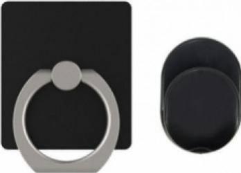 Suport stand inel OEM Ring cu minisuport auto inclus, negru Accesorii Diverse Telefoane