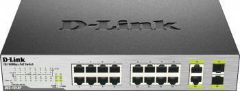 Switch D-Link DES-1018P 16-Ports Fast Ethernet 8-Port PoE 2-Port Gigabit Uplink