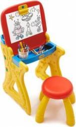 Tablita de desenat si pupitru birou Grown Up cu scaunel si accesorii scris incluse Jucarii de exterior