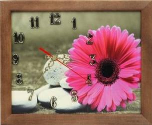 Tablou cu ceas inramat 20x25 cm Pink Flower Ceasuri si Radio cu ceas